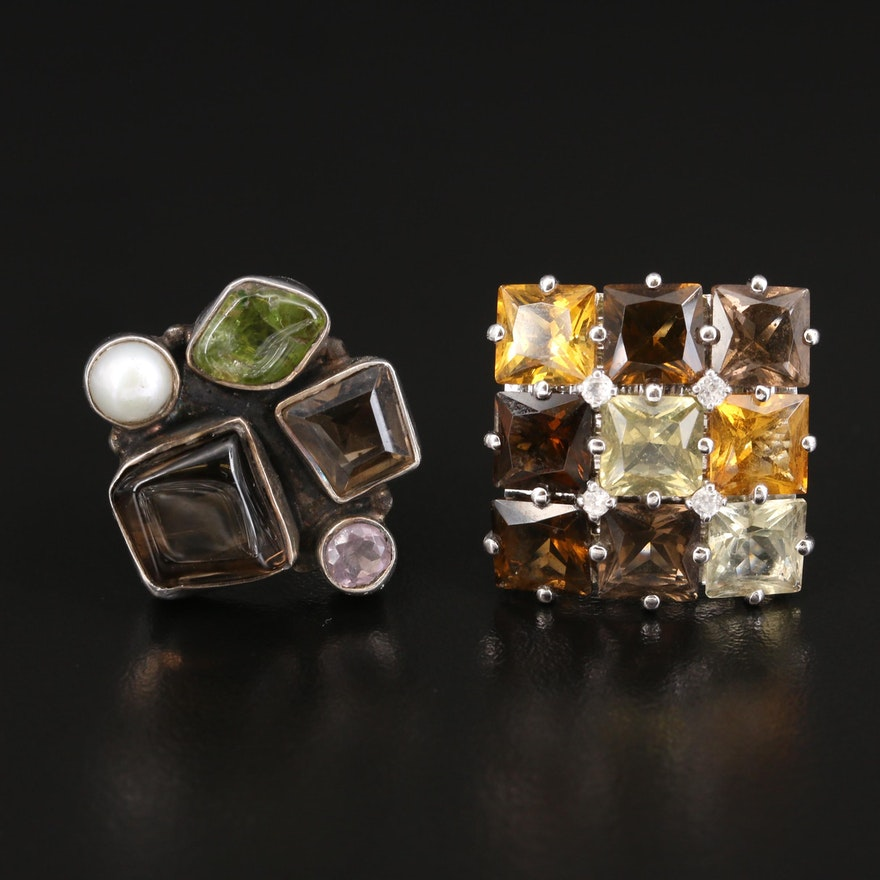 Sterling Smoky Quartz, Citrine and Peridot Cluster Rings