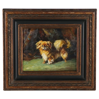 Oil Painting of Pekingese Dog, circa 2000