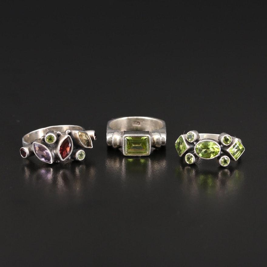 Sterling Peridot, Garnet and Amethyst Ring Selection