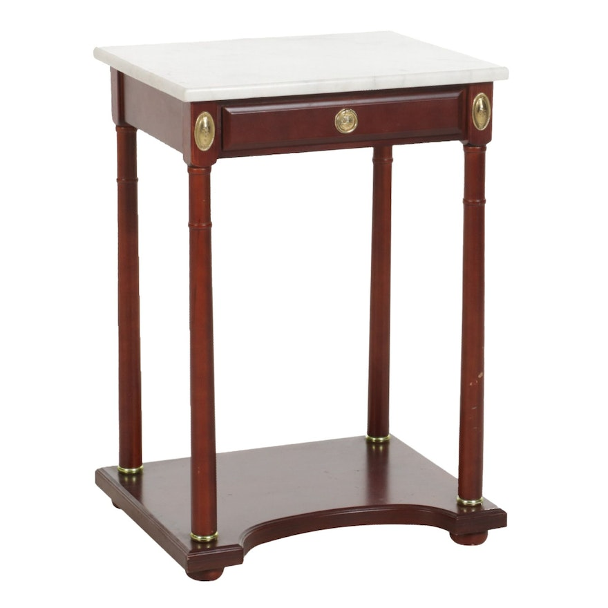 Empire Style Mahogany-Stained and Marble Top Hall Table