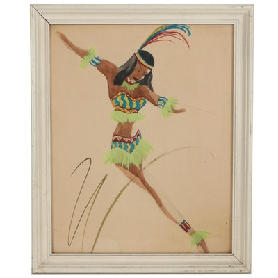 Gouache Painting of Dancing Woman in Costume, Mid-20th Century