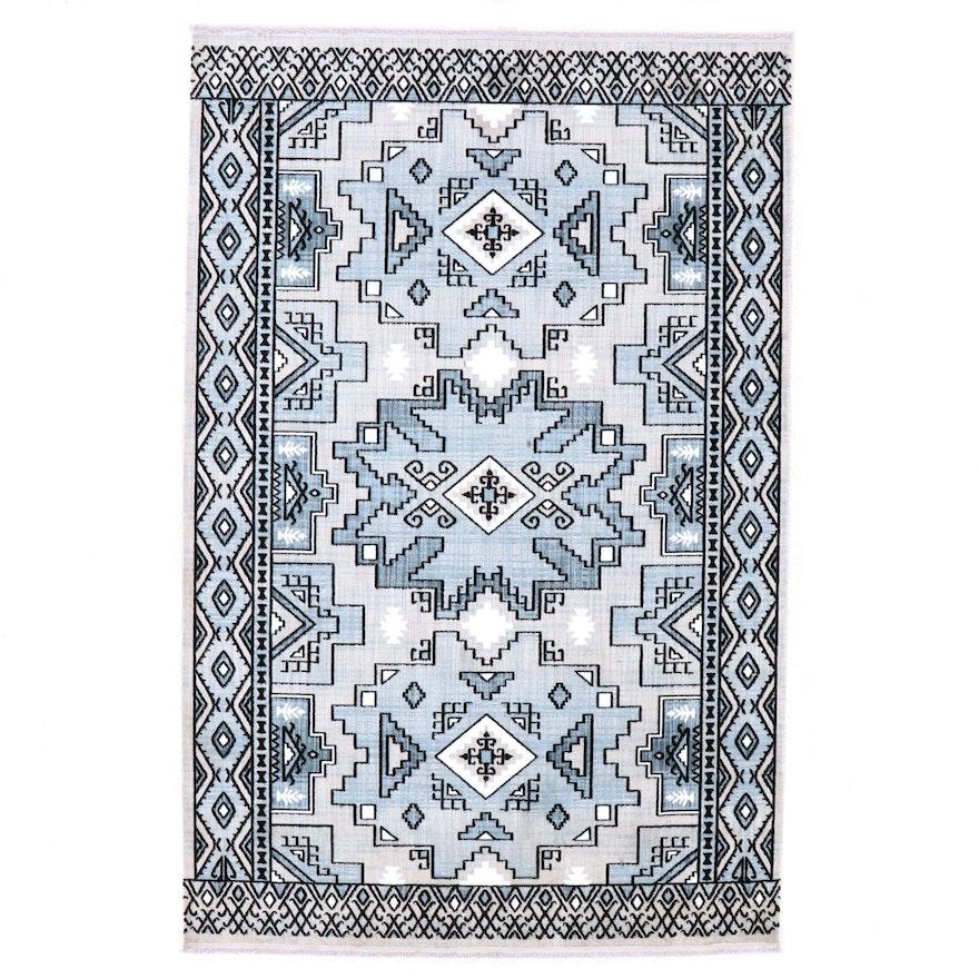 5'0 x 7'1 Machine Made Turkish Caucasian Style Wool Rug, 2010s