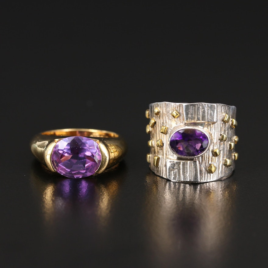 Sterling Amethyst and Color-Change Sapphire Rings