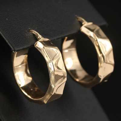 14K Wave Hoop Earrings