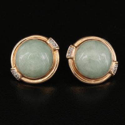 Sanuk 14K Jadeite and Diamond Earrings