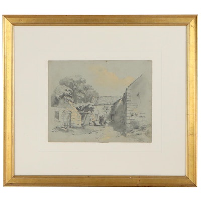 Farmyard Landscape Mixed Media Drawing Attributed to Rev. Robert Le Marchant