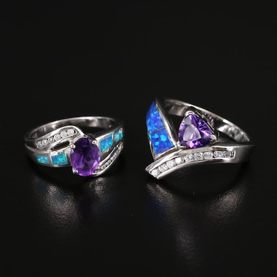 Sterling Amethyst, Opal and Cubic Zirconia Rings