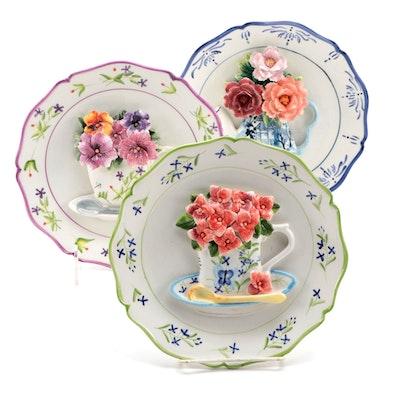 Ceramic Dimensional Floral Form Decorative Plates