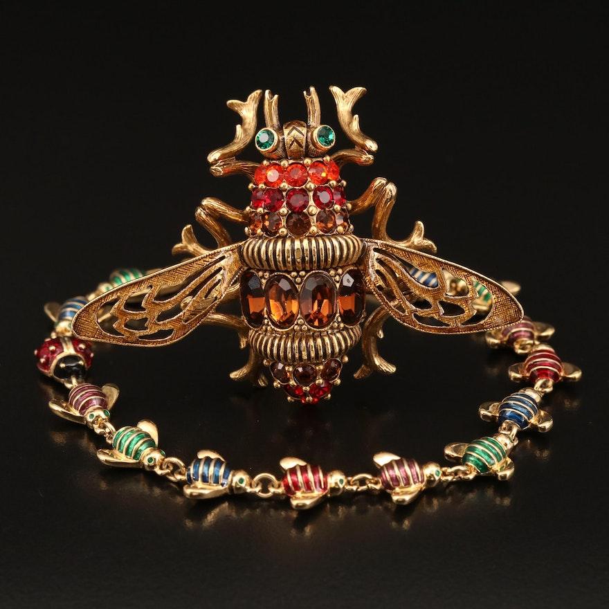 Joan Rivers Rhinestone and Enamel Large Bee Pin and Bee with Ladybug Bracelet