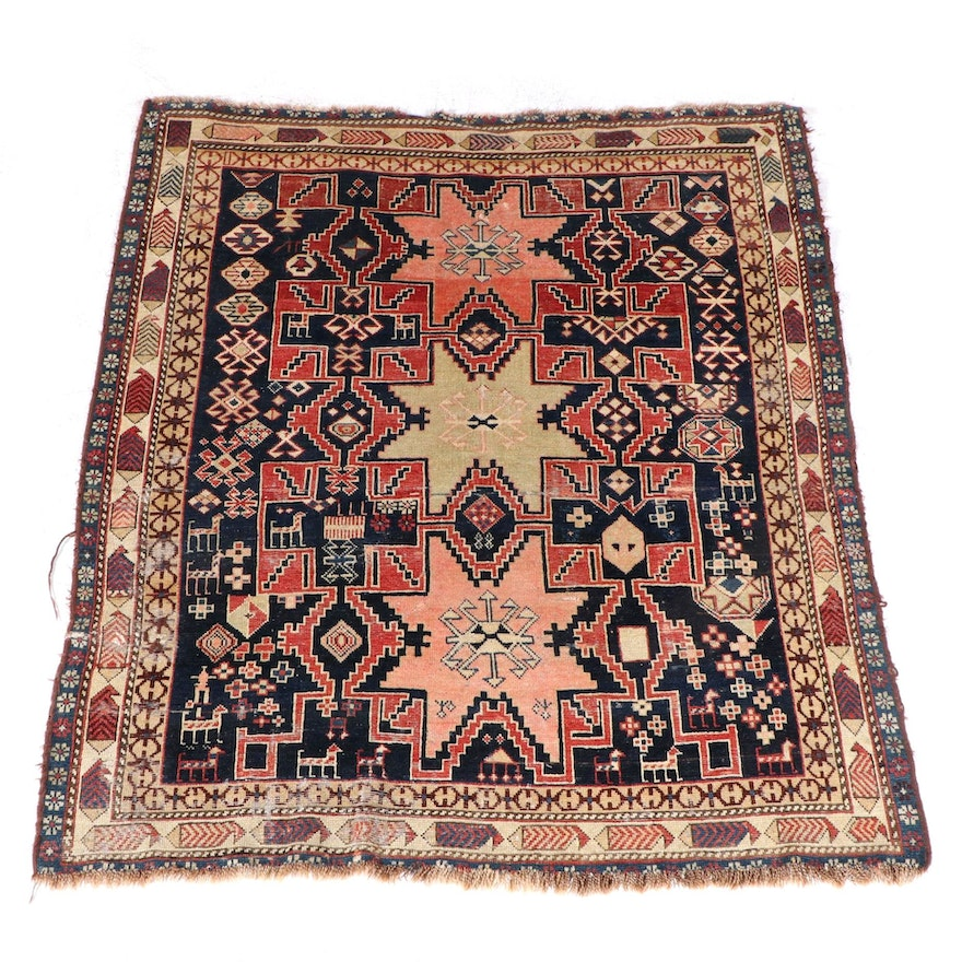 3'9 x 4'5 Hand-Knotted Caucasian Shirvan Area Rug