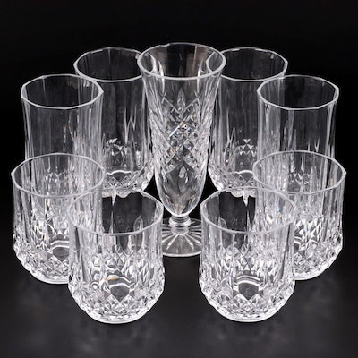 "Waterford ""Ashbourne"" Crystal Footed Vase with Other Glasses"