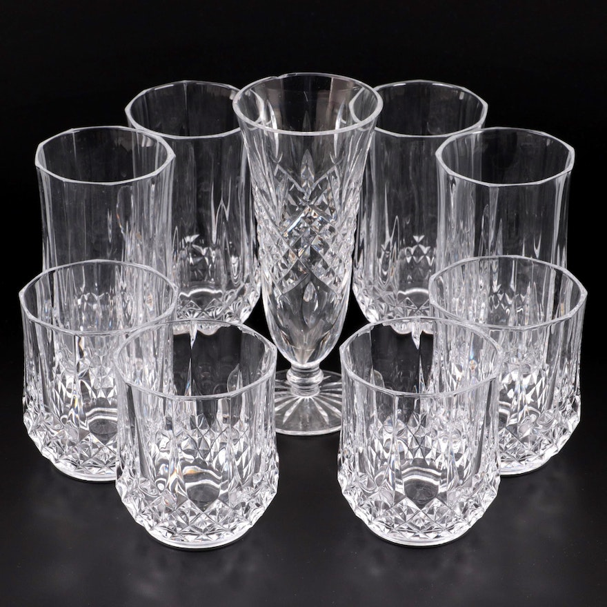 """Waterford """"Ashbourne"""" Crystal Footed Vase with Other Glasses"""
