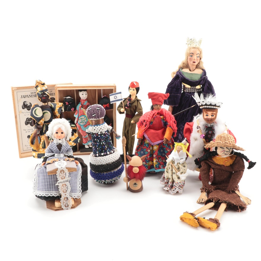 Cinderella, Henry VIII, Native American, and Other Dolls, Mid to Late 20th C.