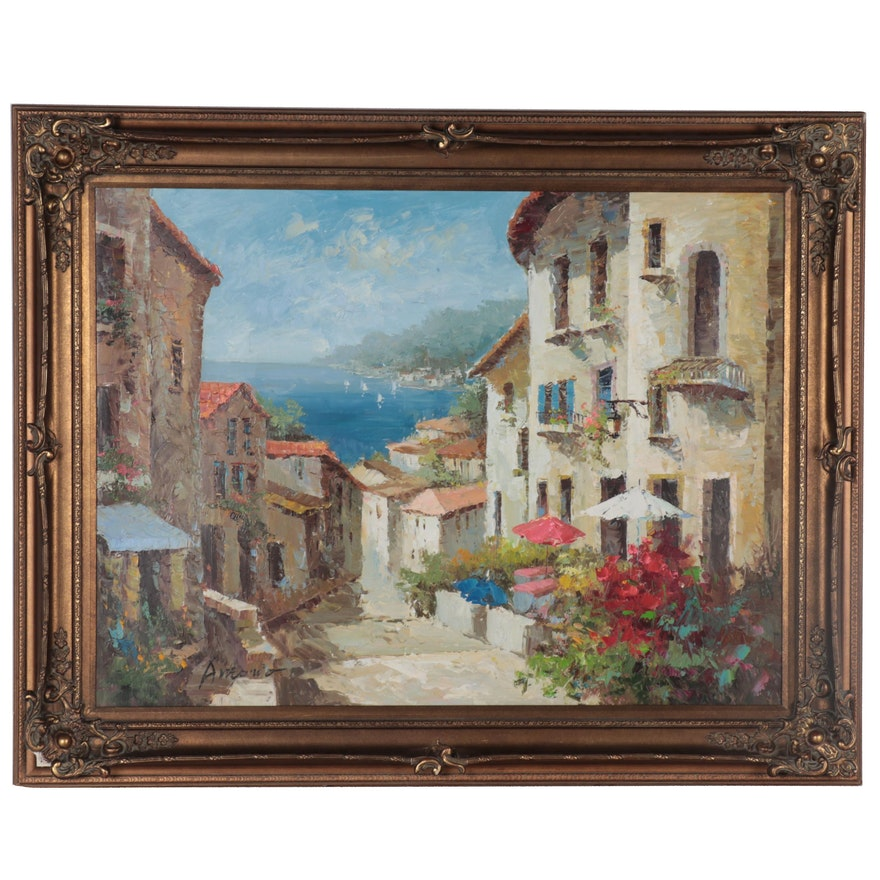 Impasto Landscape Oil Painting of European Village, Late 20th Century