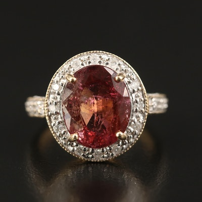 14K 4.63 CT Tourmaline and Diamond Ring