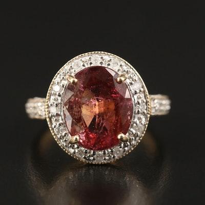 14K 4.63 CT Tourmaline and Diamond Ring