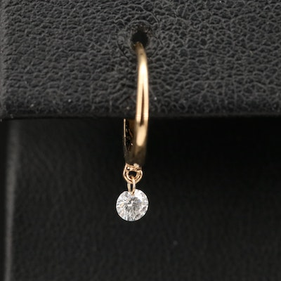 Single 14K Hoop Earring with Diamond Drop