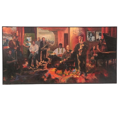 Kaz Ooka Large-Scale Oil Painting of Manny Duran Jam Session, 2006