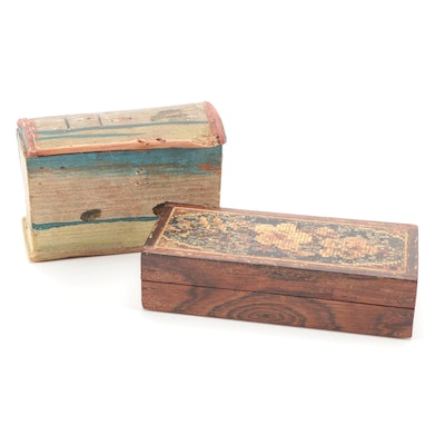Hand-Painted, and Mosaic Inlay Wood Boxes, Mid to Late 19th Century
