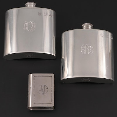 Towle Pewter Flasks with Metal Etched Matchbook Cover, 20th Century