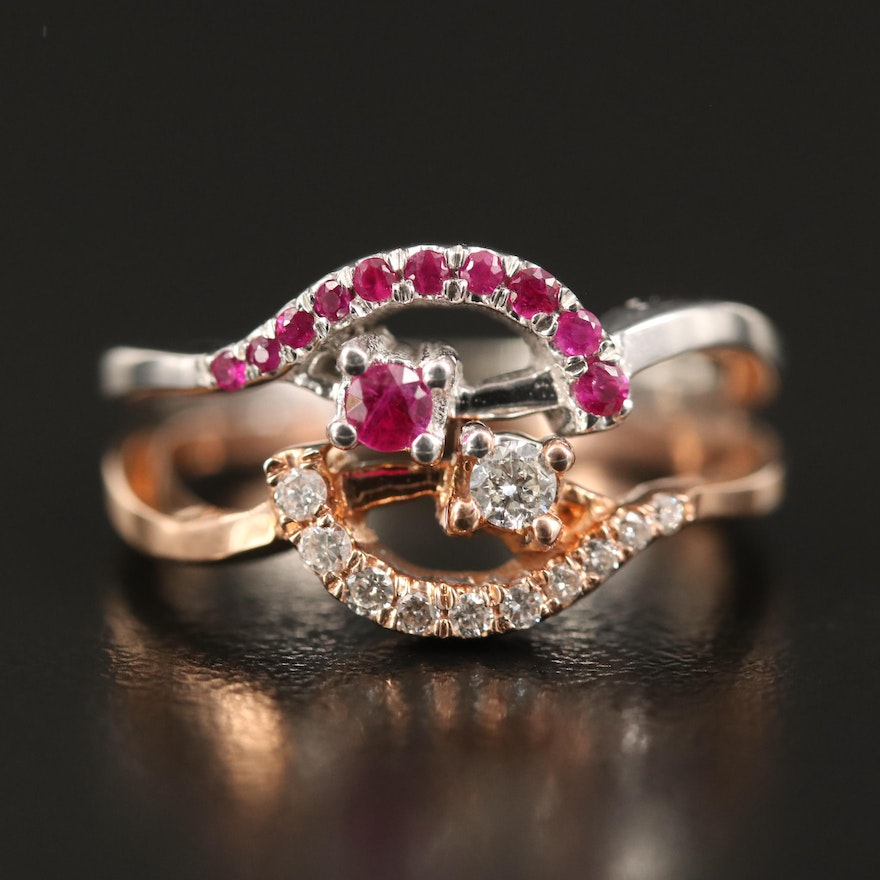 14K Two-Tone Diamond and Ruby Openwork Ring
