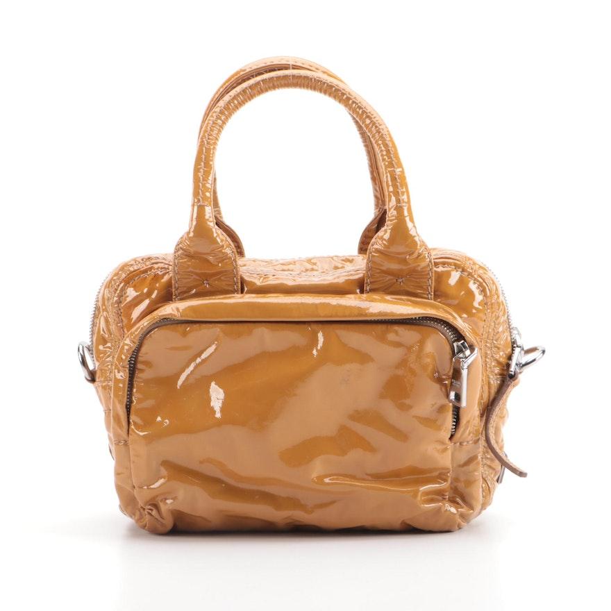 Prada Bauletto Two-Way Satchel in Cammello Vitello Shine Leather