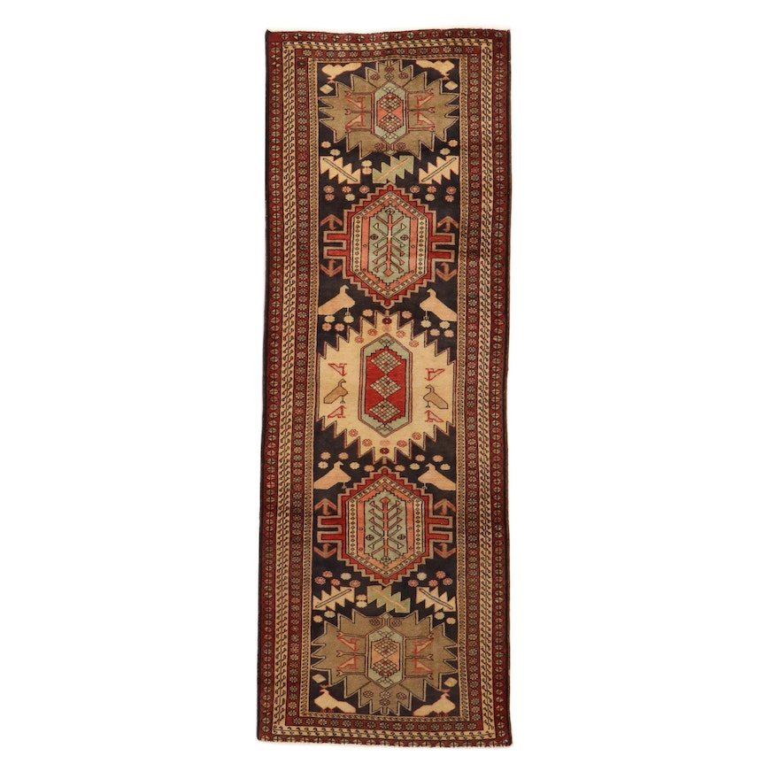 3'0 x 10'0 Hand-Knotted Northwest Persia Pictorial Wool Runner, 1960's
