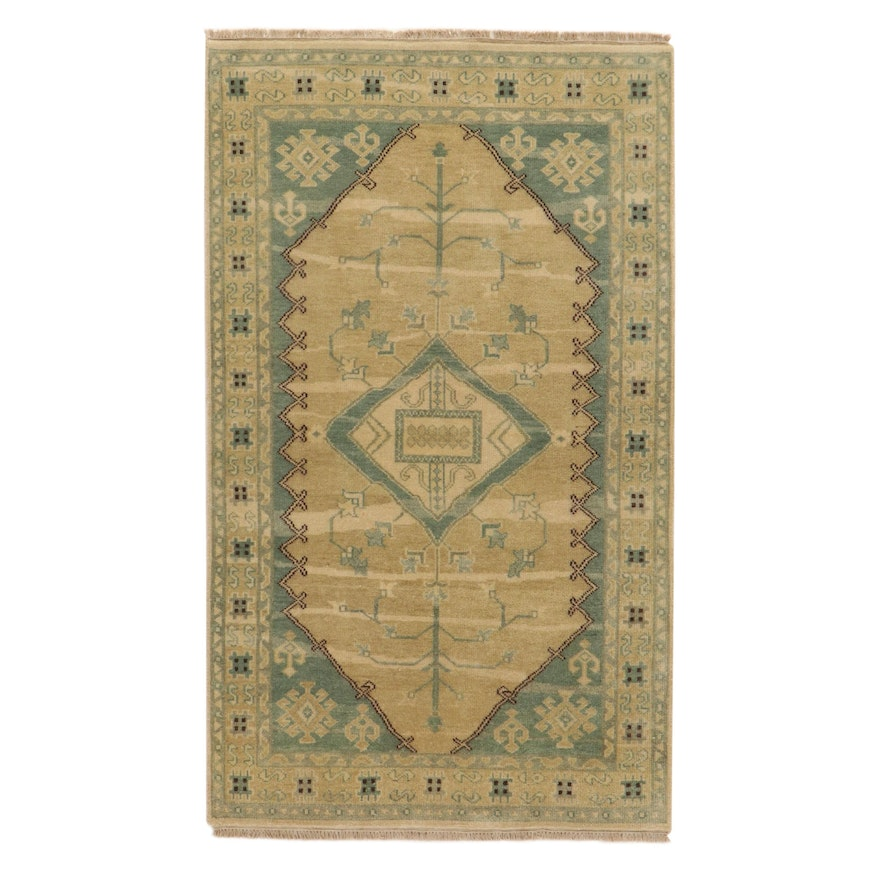 5' x 8'5 Hand-Knotted Indo-Turkish Oushak Rug, 2010s