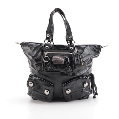Coach Poppy Spotlight Tote in Black Crinkle Patent Leather