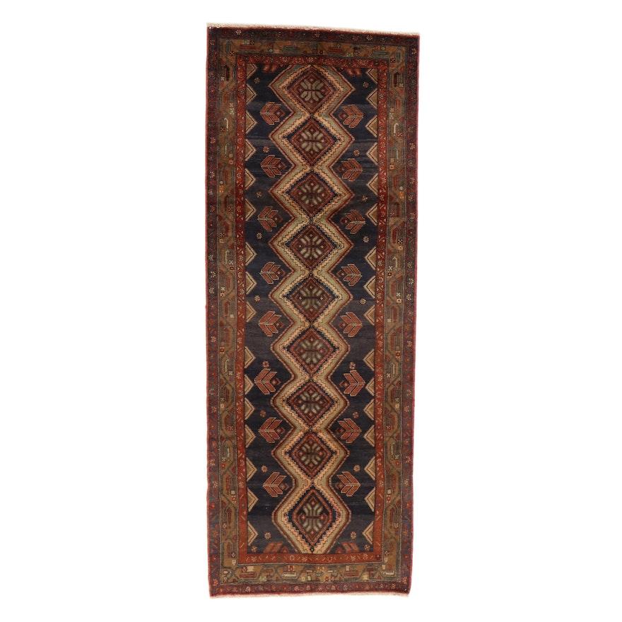 3'10 x 10'1 Persian Malayer Wool Carpet Runner, 1960s