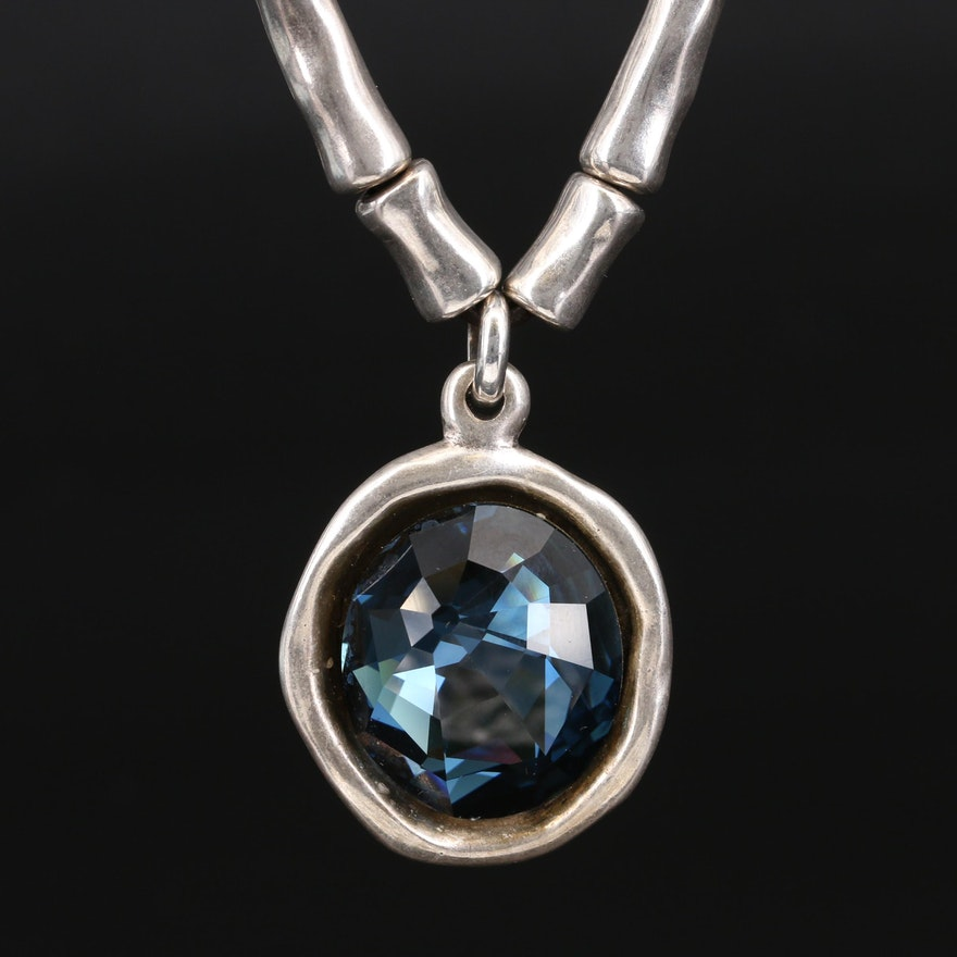 Uno de 50 Blue Glass Bamboo Link Necklace