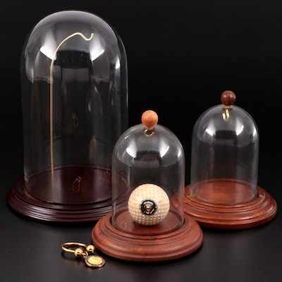Richard Nixon Commemorative Golf Ball, Key Ring and Glass Cloche Bell Jars