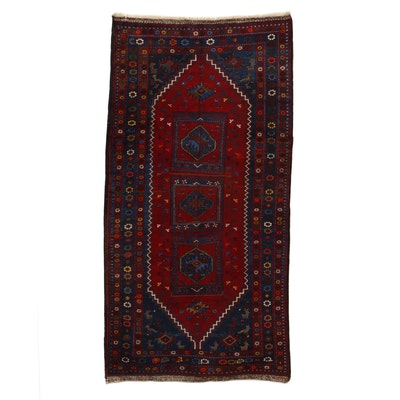 5'4 x 10'6 Hand-Knotted Turkish Village Pictorial Area Rug, 1980s