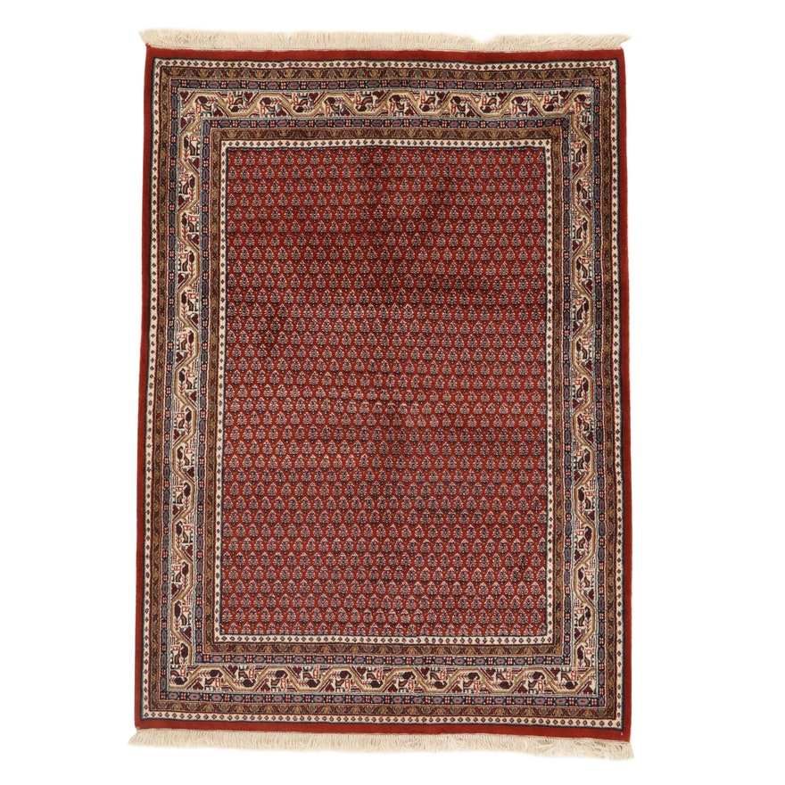 4'8 x 6'8 Hand-Knotted Indo-Persian Mir Sarouk Rug, 2000s