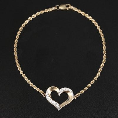 10K Cubic Zirconia Heart Bracelet