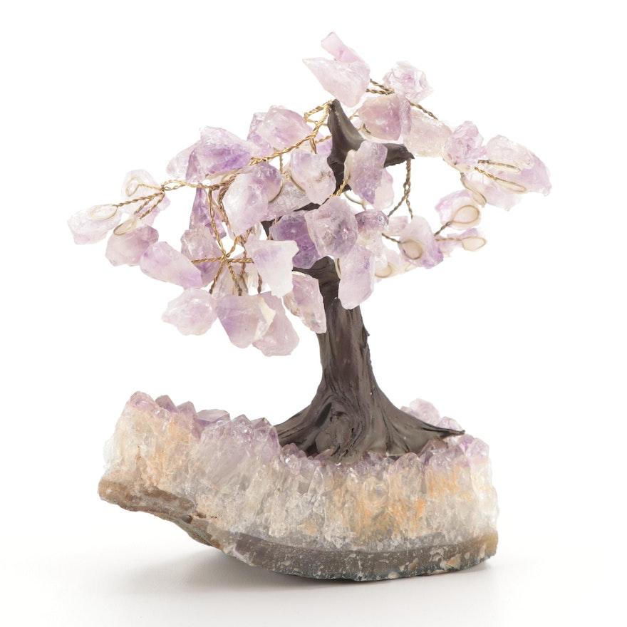 Amethyst Leaves and Base Tree Figurine