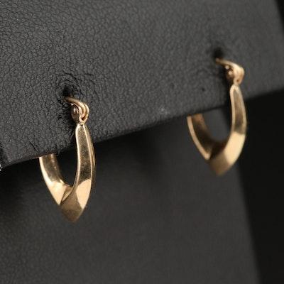 10K Knife Edge Oval Hoop Earrings