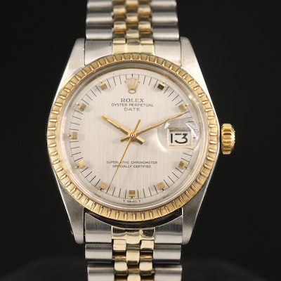 1969 Rolex Date 1505 14K Gold and Stainless Steel Automatic Wristwatch
