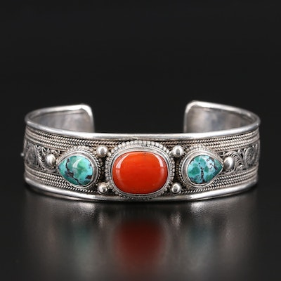 Sterling Coral and Turquoise Cuff with Rope Details