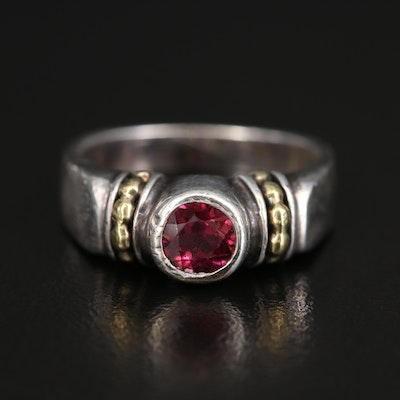 Caviar by Lagos Sterling Garnet Ring with 18K Accents