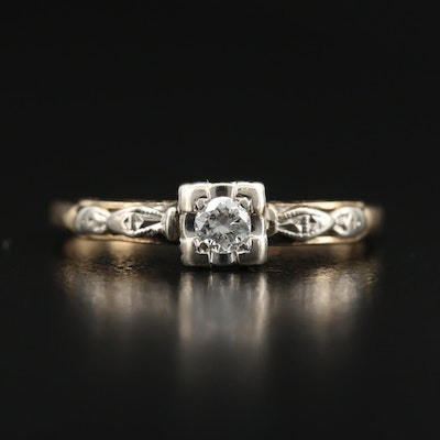 Vintage 14K Diamond Ring with Open Gallery