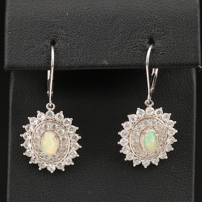 Sterling Opal and Zircon Double Halo Earrings