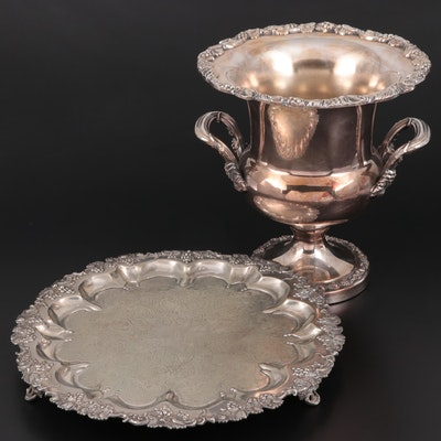 Barker Brothers Chased Silver Plate Salver and Wm. Rogers Champagne Bucket