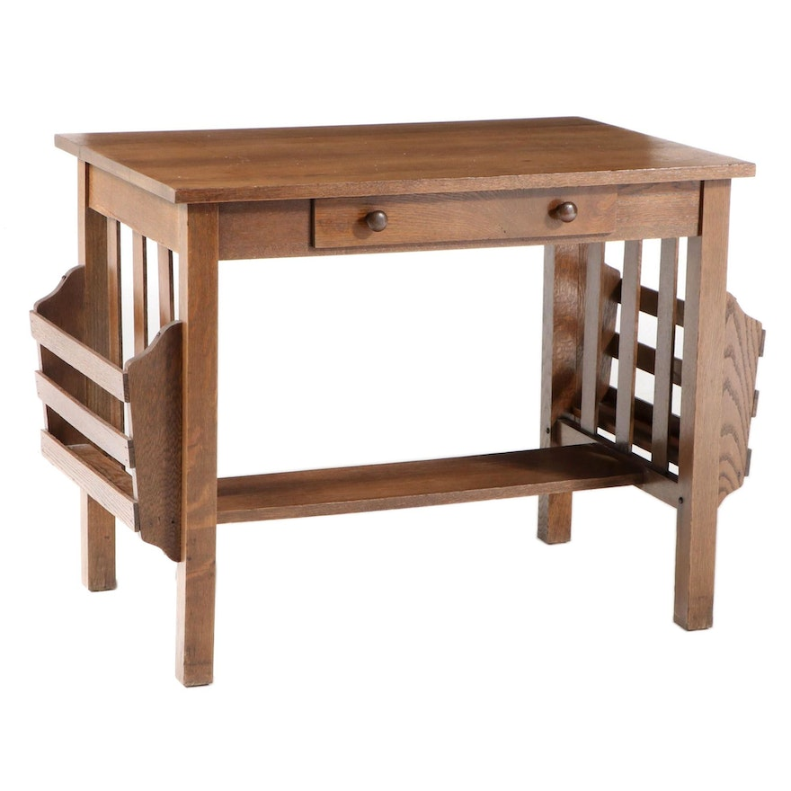 Arts and Crafts Oak Library Table with Magazine Racks, Early 20th Century