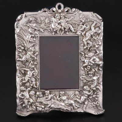 Winged Cupid Motif Silver Plate Picture Frame