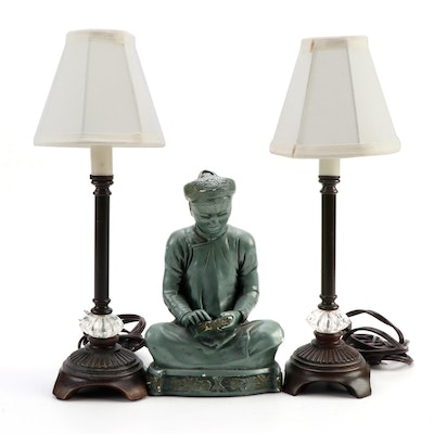 Pair of Table Lamps with Chalkware Scholar Figure