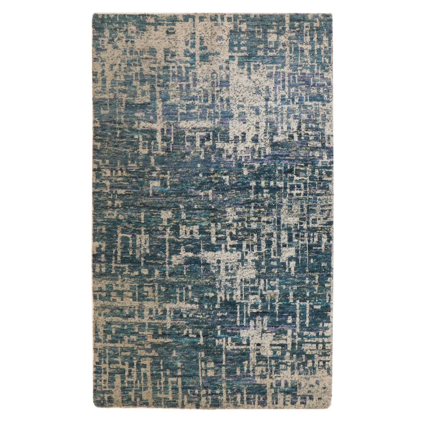 5' x 8'4 Hand-Knotted Indian Bamboo Silk Rug, 2010s