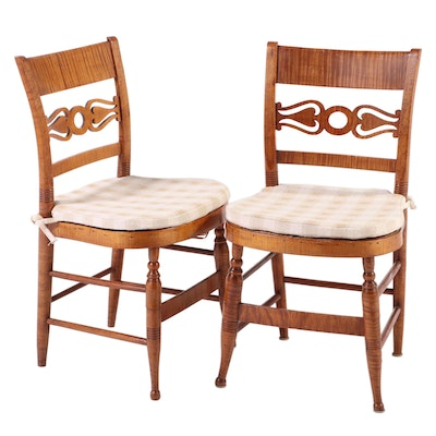 Pair of American Classical Tiger and Bird's-Eye Maple Side Chairs, circa 1830