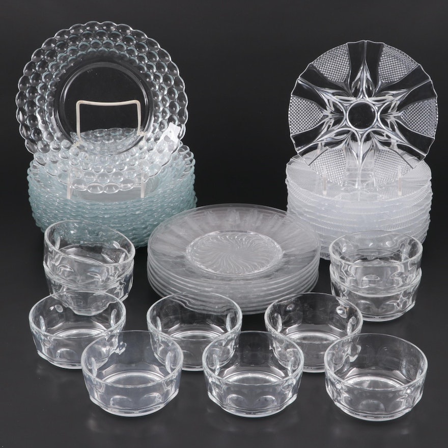 Arcoroc France Fruit Bowls with Other Glass Plates and Bowls, Late 20th Century