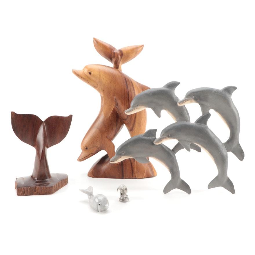Wood, Onyx Tellez and Metal Marine Mammal Décor
